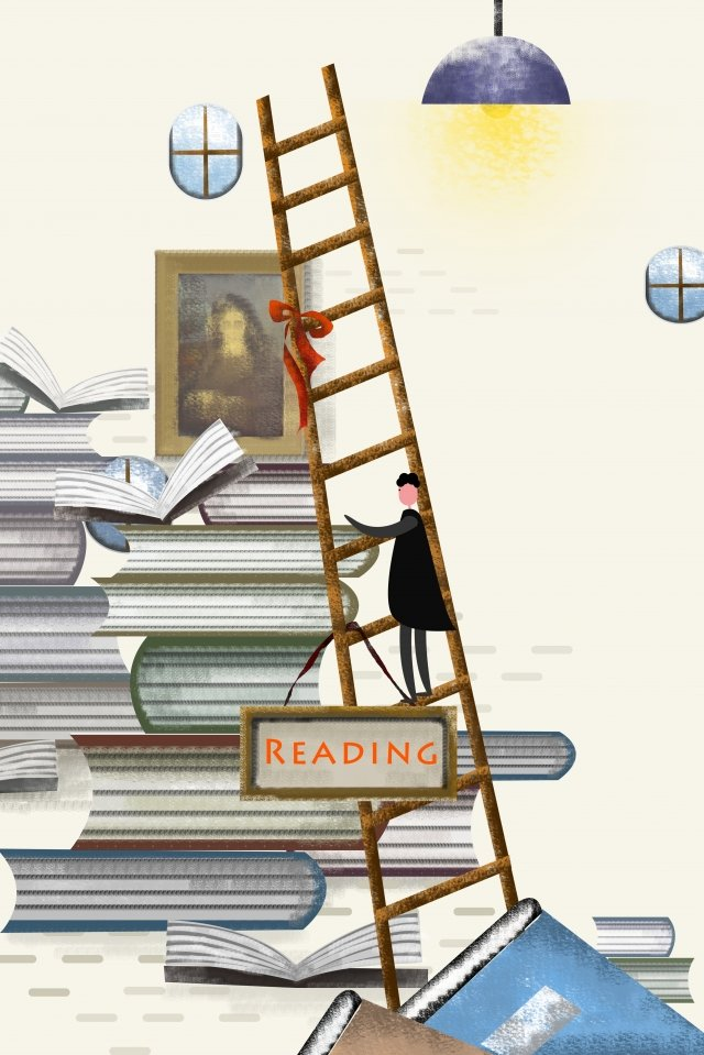 illustration book ladder window llustration image