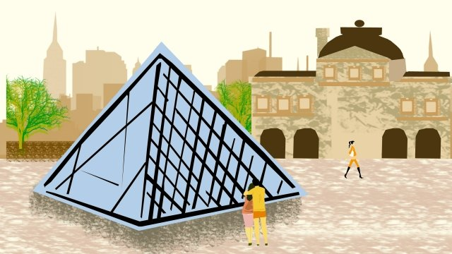 그림 건물 유명한 루브르 박물관 삽화 소재