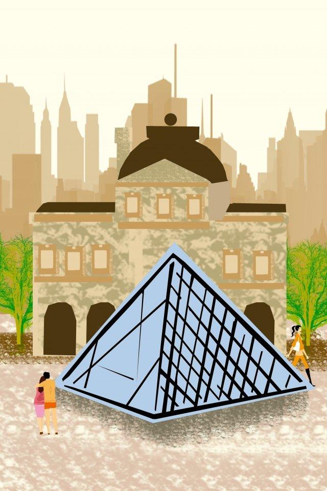 그림 건물 유명한 루브르 박물관 삽화 이미지