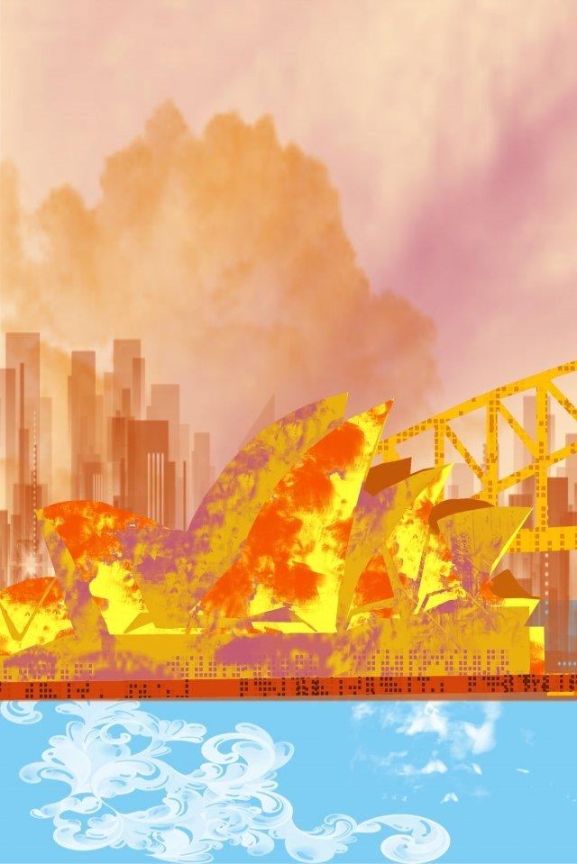 그림 건물 유명한 시드니 삽화 이미지