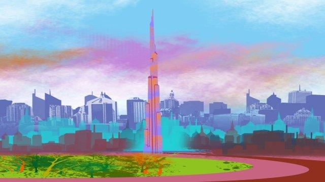 그림 건물 높은 건물 두바이 삽화 소재