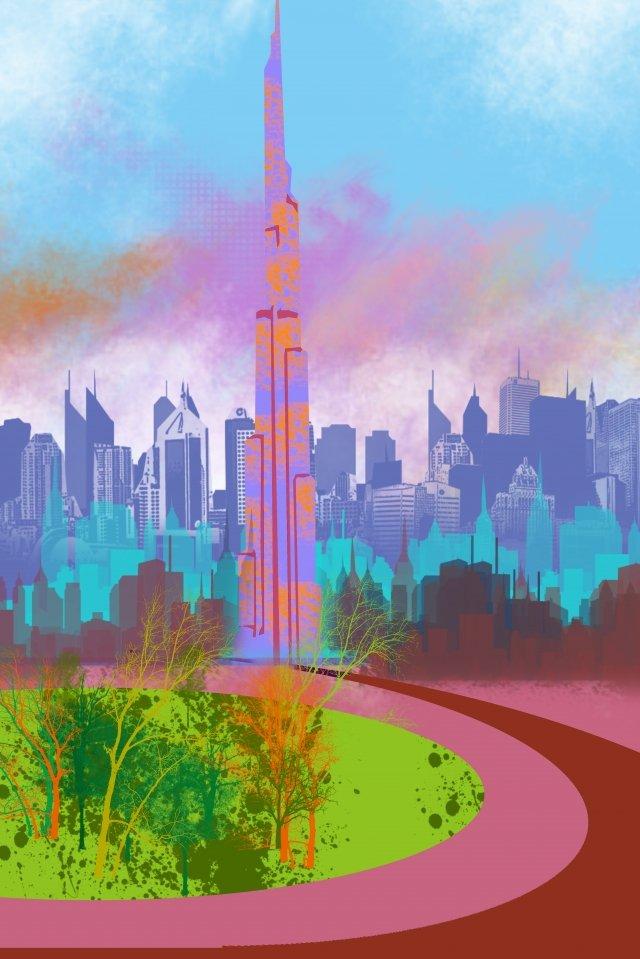 그림 건물 높은 건물 두바이 삽화 소재 삽화 이미지