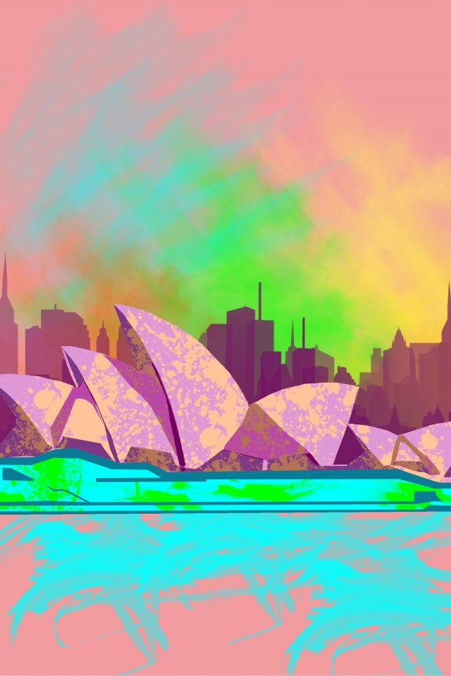 illustration building sydney opera llustration image