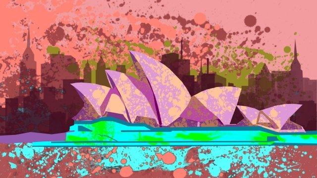 illustration building sydney opera, Famous, Singular, Features illustration image