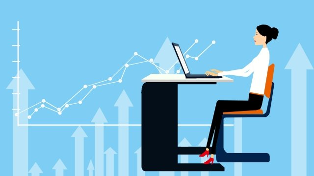 illustration business white collar office, Indoor, Financial, Flat illustration image