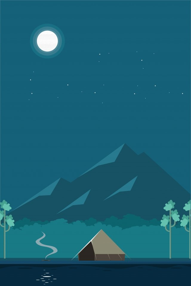 illustration camping night landscape, Night Scenery, Camping At Night, Travel illustration image