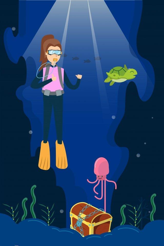 illustration cartoon ocean seabed, Turtle, Squid, Diver illustration image