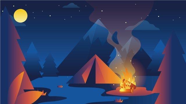 그림 만화 야외 캠핑 야외 캠핑 삽화 소재