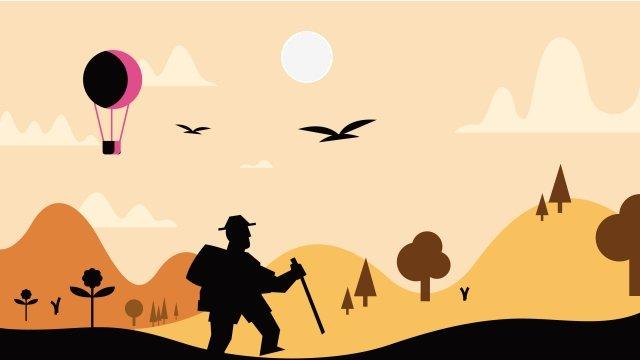 風景を歩いてイラストキャラクター旅行 イラスト素材