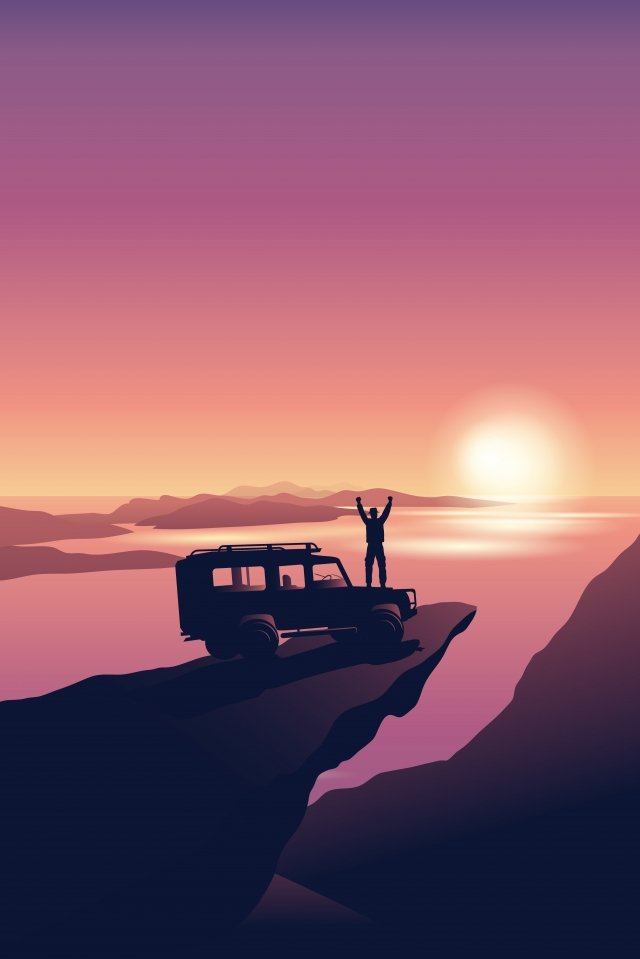 illustration character travel car trip seaside scenery, Travel, Car Trip, Character Travel illustration image