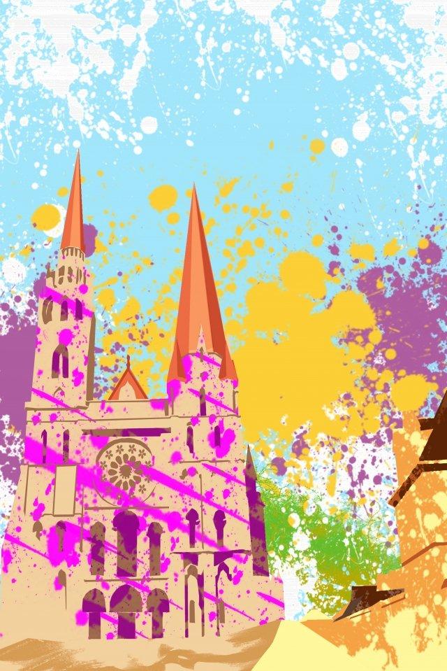 그림 교회 건물 chartres 성당 삽화 소재