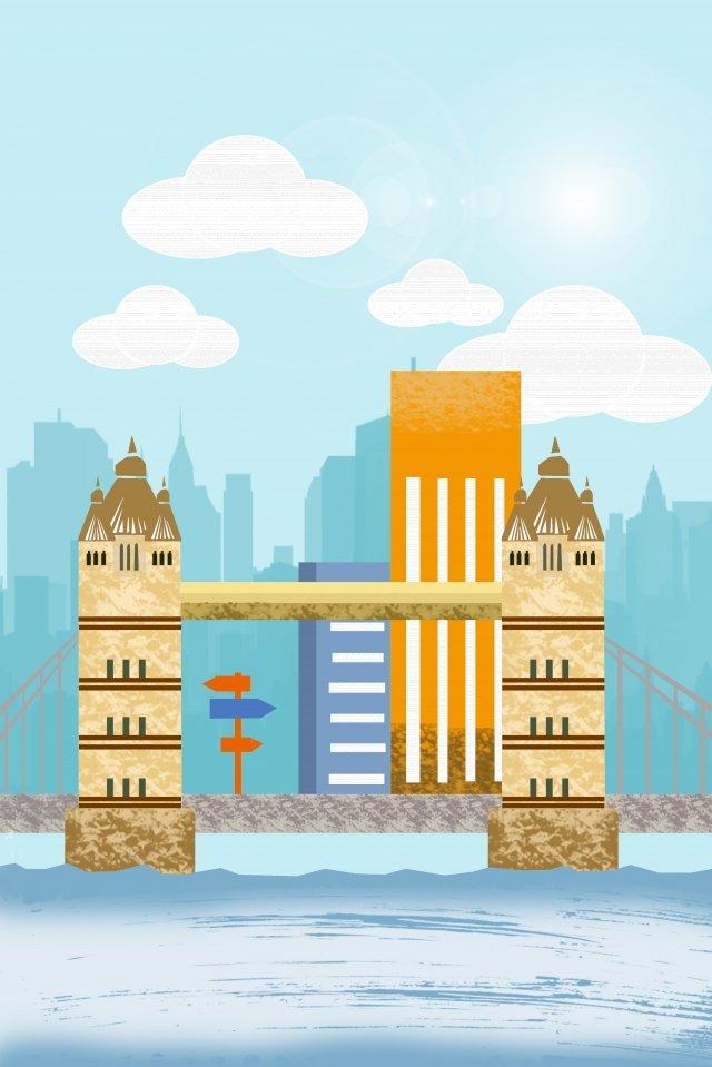 그림 도시 건물 런던 다리 삽화 소재
