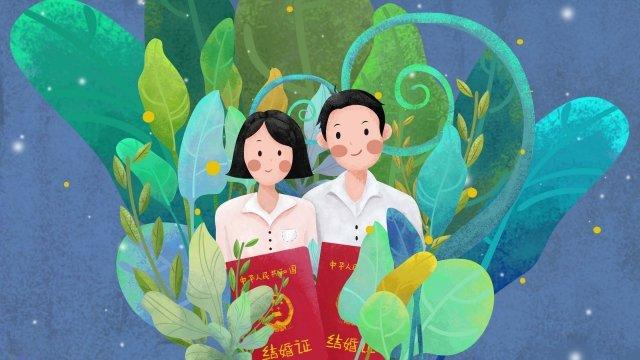 illustration couple boy girl, Leaf, Marriage Certificate, Green illustration image