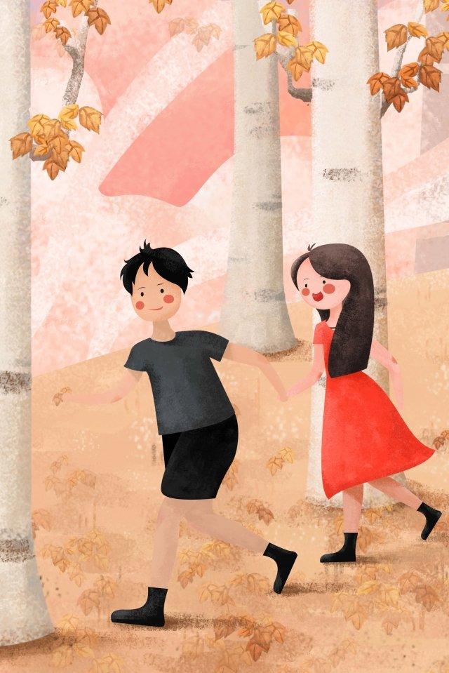 illustration couple boy girl, Holding Hands, Run, Fallen Leaves illustration image