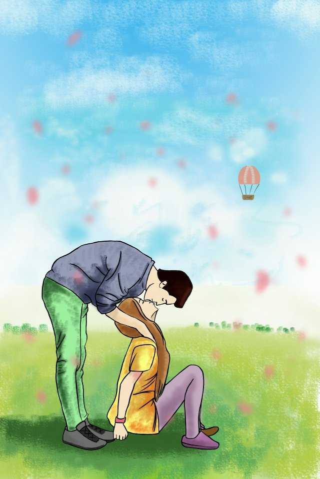 illustration couple landscape grassland, Happy, Kiss, Board Painting illustration image