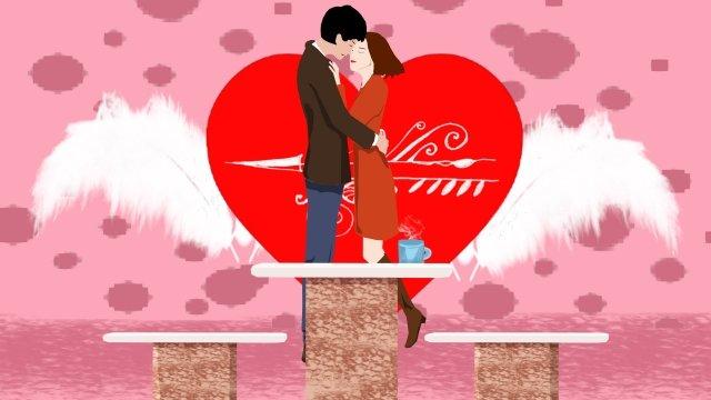 일러스트 커플 사랑 포옹 삽화 소재 삽화 이미지