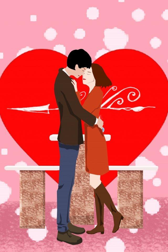 イラストカップル愛抱擁 イラスト素材