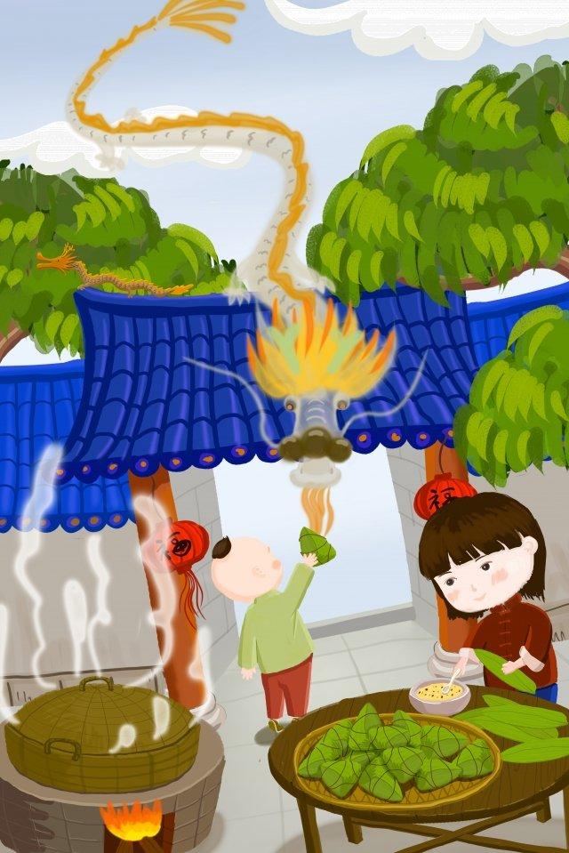 插圖庭院蝎子粽子 插畫素材