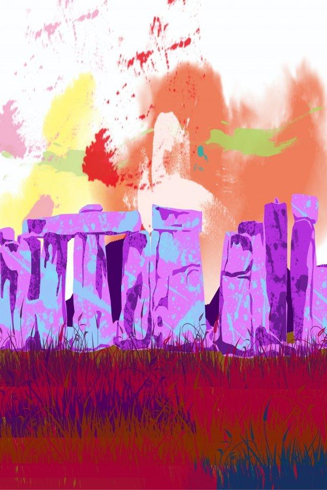 illustration creative united kingdom stonehenge, Easter Island, Color, Beautiful illustration image