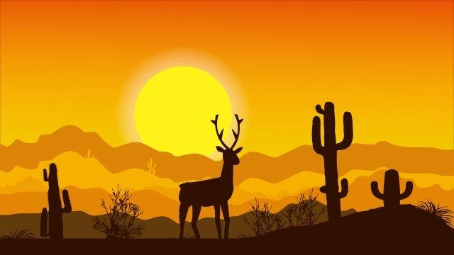 砂漠の子鹿 イラストレーション画像 イラスト画像