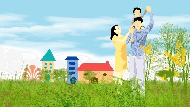 그림 가족 야외 파란 하늘 삽화 소재