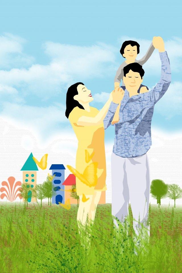illustration family outdoor blue sky, Family, Family Of Three, Grassland illustration image