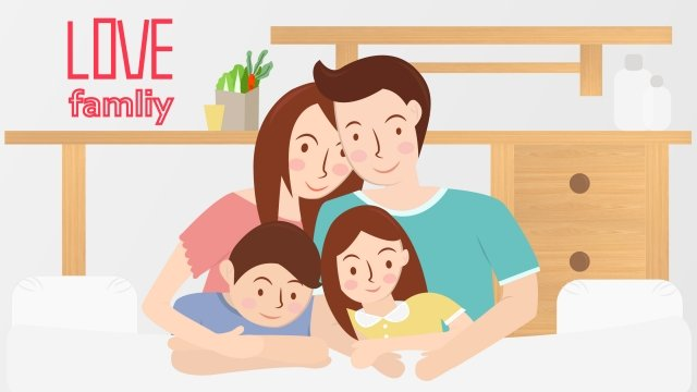 illustration family parents children, Take A Photo, Kneeling On The Sofa, Table illustration image