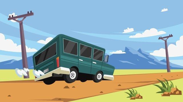 野外公路汽车出行插画 插画 野外 公路公路  插画  汽车PNG和矢量 illustration image