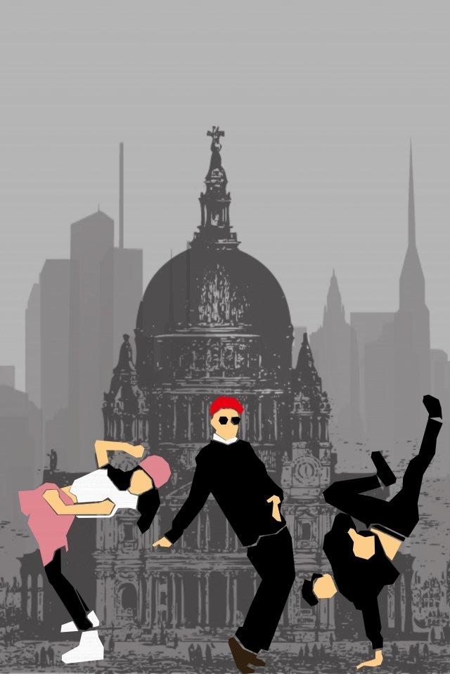 equipe de dança de rua plana de ilustração Imagens de ilustração