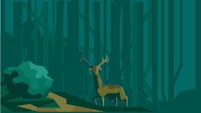 illustration forest and deer landscape forest llustration image