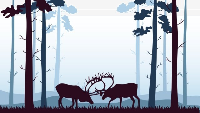 イラストの森と鹿の風景イラストの森 イラスト素材