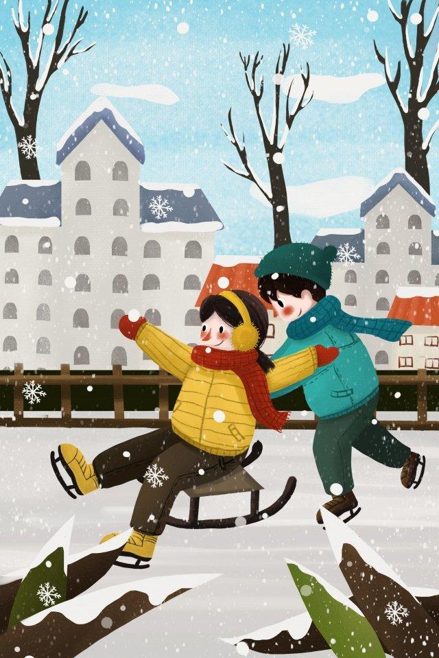 illustration game child sled, Skiing, Double, Illustration illustration image