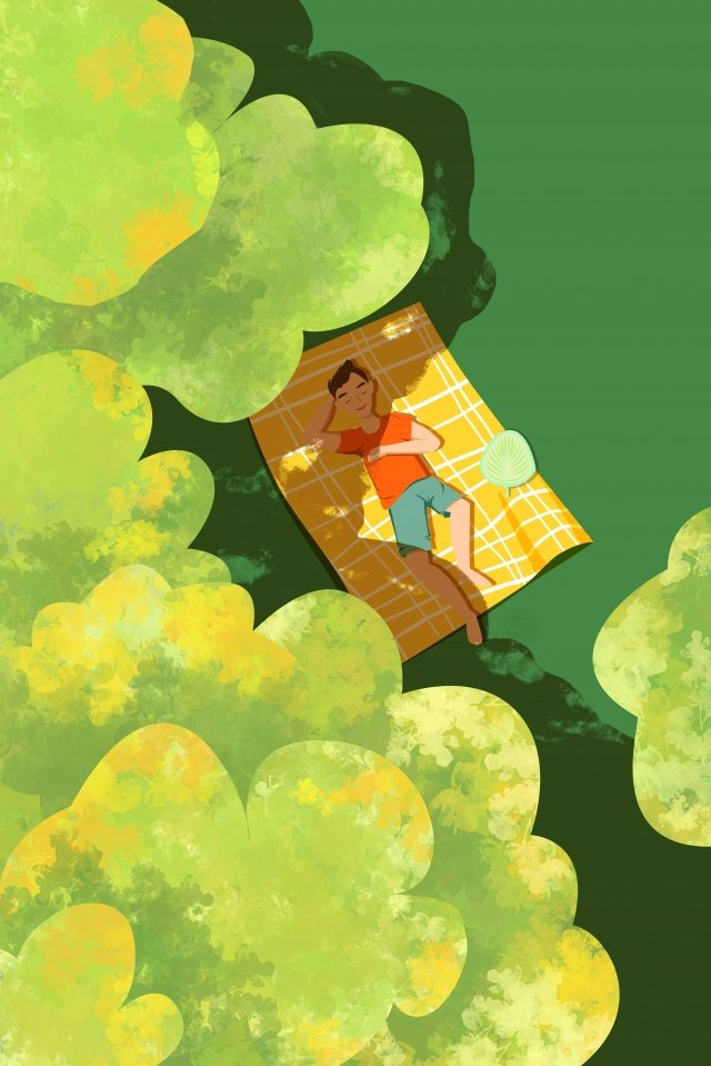 illustration great heat summer cool under the tree llustration image