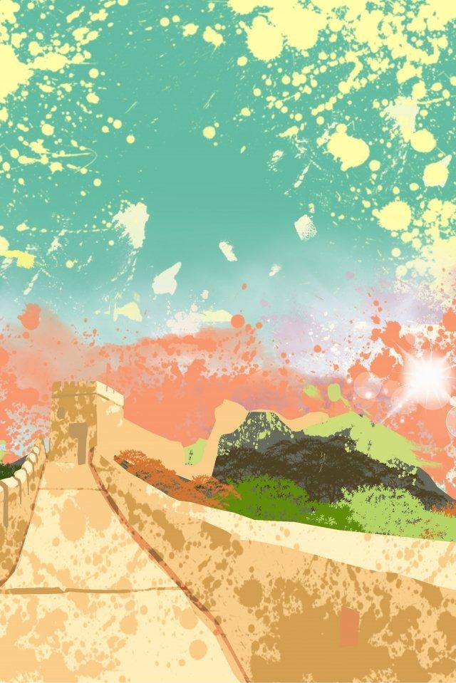 그림 멋진 벽 명소 랜드 마크 삽화 소재 삽화 이미지