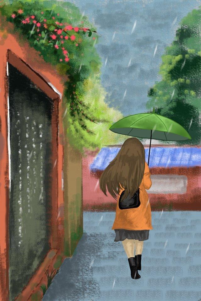 ilustração gu yu board pintura chuva Imagens de ilustração