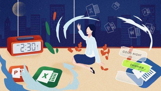 illustration hand painted business blue, Girl, Business, Office illustration image