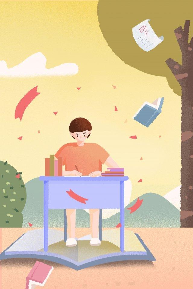 ilustração mão pintado exame de admissão da faculdade aprender Material de ilustração