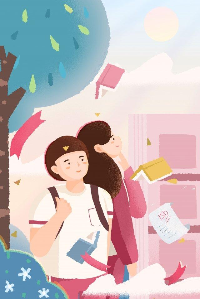 Candidatos de exame de admissão da faculdade e escola rosa azul cartaz fundo Ilustração Mão desenhada Exame deDa  Faculdade  Aprendendo PNG E PSD illustration image