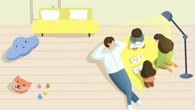 イラスト手描きの家族が学ぶ イラスト素材 イラスト画像