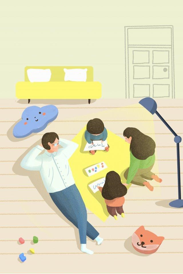 イラスト手描きの家族学ぶ図面、子供、教育、両親、父、母、家、生活、イラスト、手描き、家族、学ぶ PNGおよびPSD illustration image