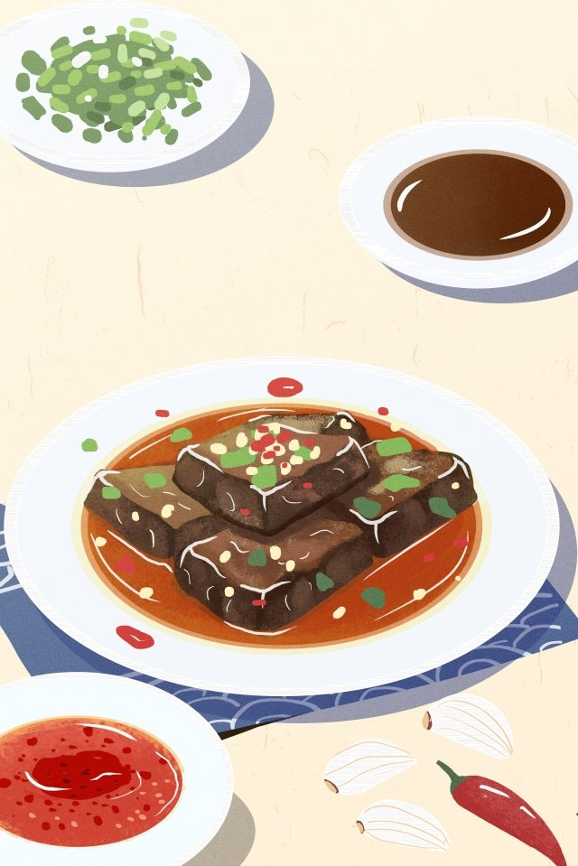 illustration hand painted food chinese style, Chinese Style, Hunan, Hunan Cuisine illustration image