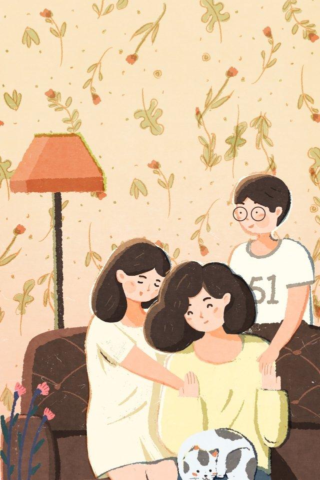 イラスト手描きの母の日母 イラストレーション画像