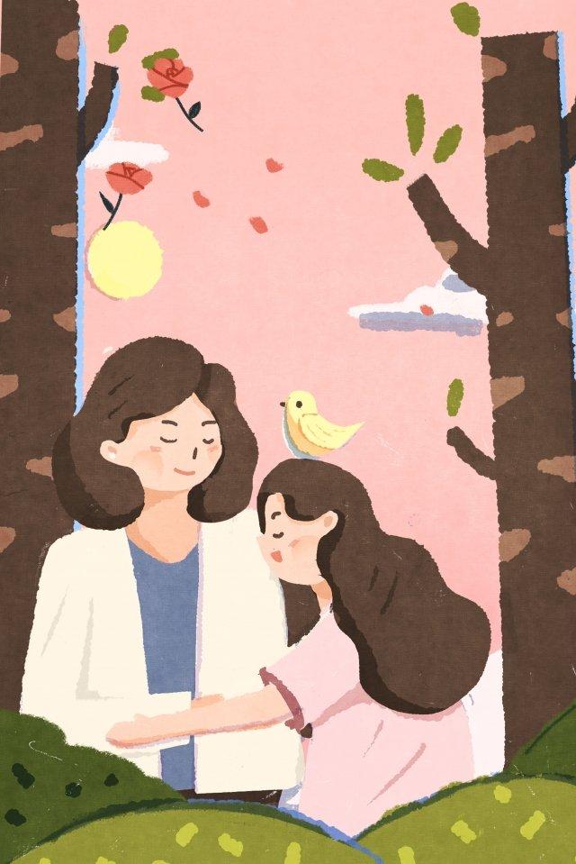 插圖手繪母親節的母親 插畫素材 插畫圖片