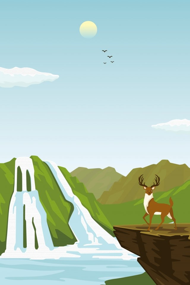 illustration high mountain animal landscape, Deer, River, Waterfall illustration image