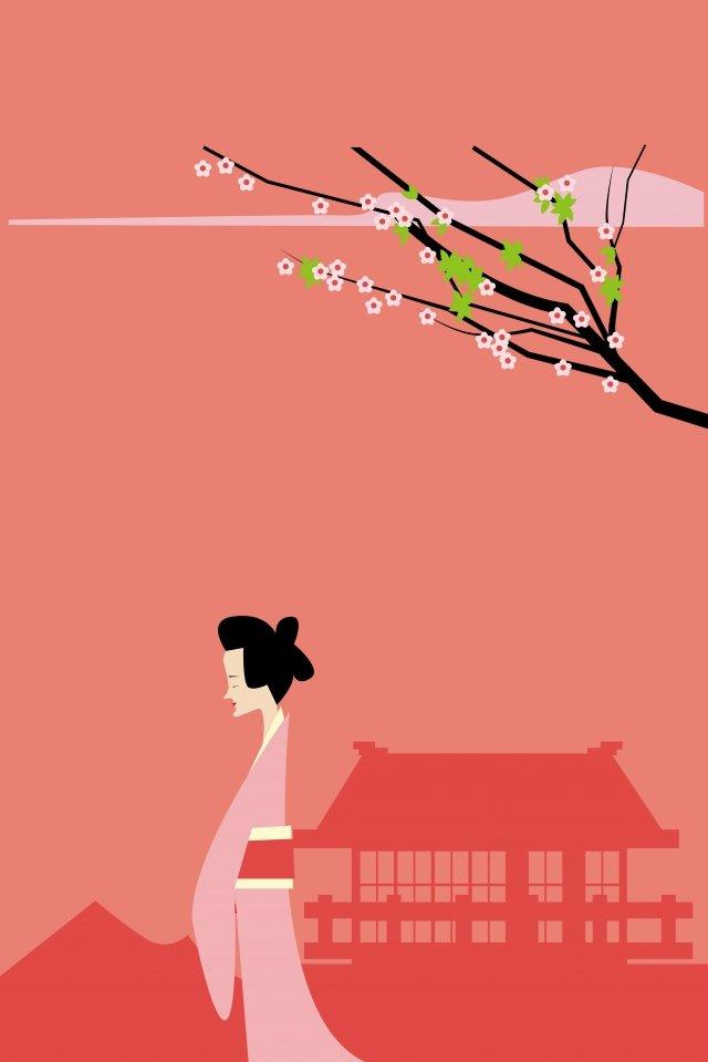 иллюстрация японская женщина пейзаж японская культура Ресурсы иллюстрации