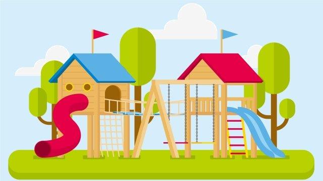 イラスト幼稚園エンターテイメント施設シーンレクリエーション施設 イラストレーション画像