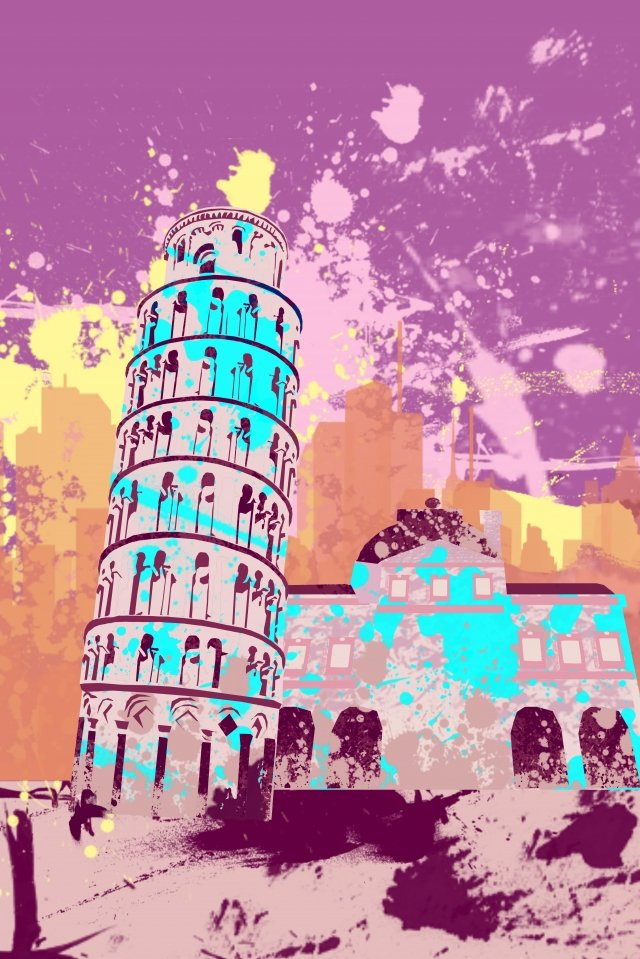 illustration leaning tower of pisa building famous illustration image