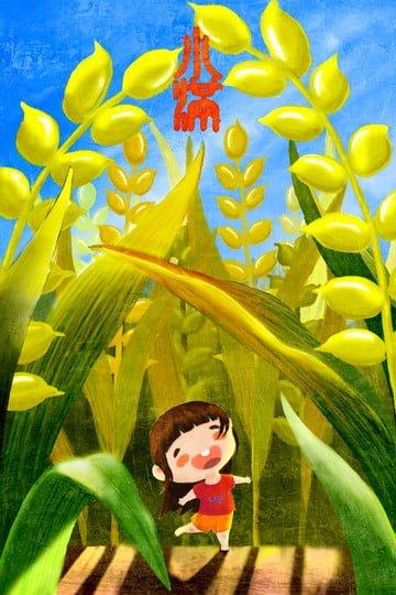 イラスト小さな女の子ゴールデン小麦 イラスト画像