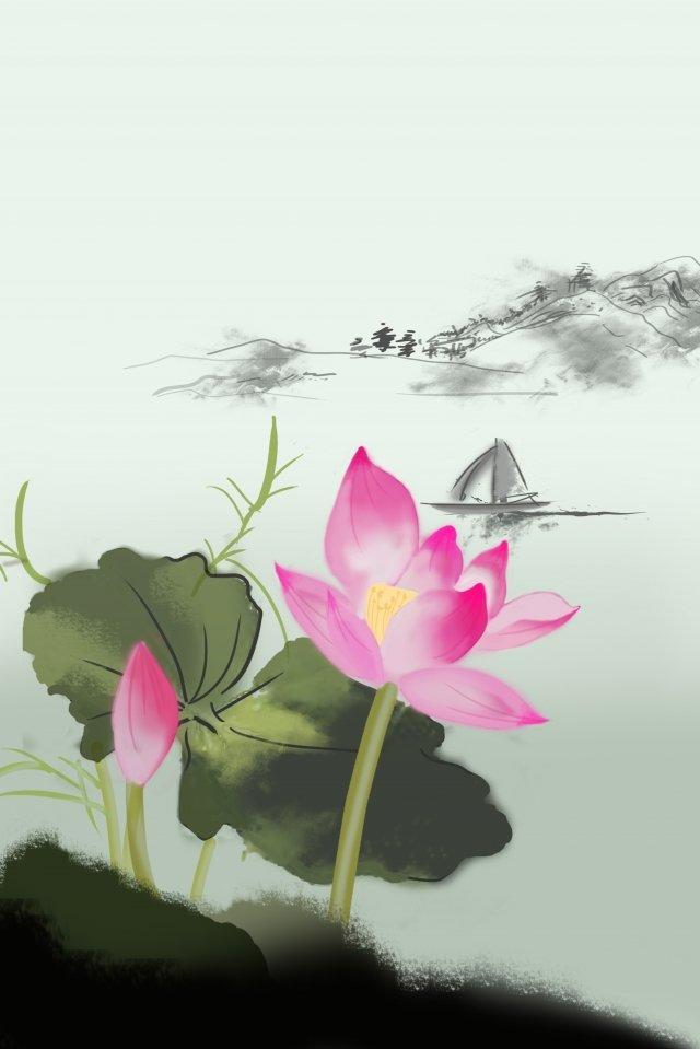 illustration lotus summer lotus leaf illustration image
