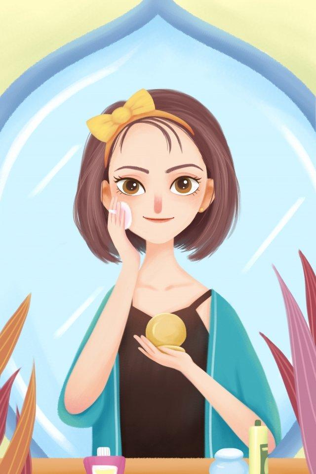 illustration make up base makeup puff llustration image